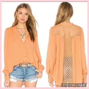 Free People The Best Blouse Button Down Crochet